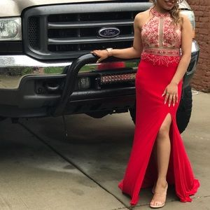 Dancing Queen Red Slit Prom Dress